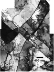 Dislocation structure inside the AISI316L alloy. The alloy was strained at 0.09. at T= 1000°C  and at 0.006 s-1 a strain rate